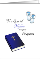 For Nephew Baptism Card-Bible, Cross and Baby Booties card