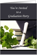 Graduation Party Invitation-Graduation Hat, Diploma Ivy & Book Design card