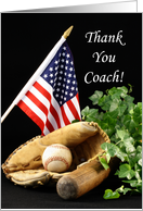 For Baseball Coach Thank You Greeting Card with Baseball Theme card