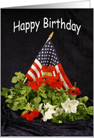 4th of July-Fourth of July-Independence Day-Birthday-Flag and Flowers card
