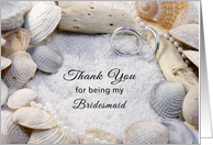 Thank You for Being My Bridesmaid Card-Beach Theme-Shells-Rings card