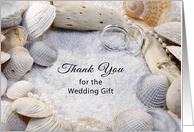 Thank You For the Wedding Gift Greeting Card-Shells-Silver Rings-Sand card
