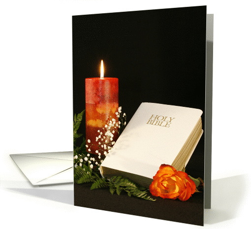 Religious Blank Note Card with Orange Candle-White... (224983)