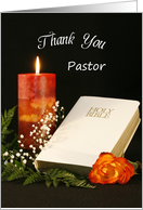 For Pastor Thank You Greeting Card-White Bible-Rose-Candle card
