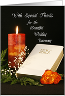 Thank You for Wedding Ceremony Card Minister-Priest-Rabbi-Officiant card