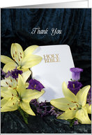 Thank You for Wedding Ceremony Greeting Card-White Bible-Yellow Lilies card
