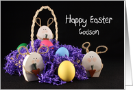 For Godson Happy Easter Greeting Card-Easter Eggs & Bunny Rabbits card