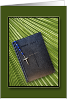 Good Friday-Easter Greeting Card-Bible, Rosary over Palm Leaf card