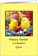 For Godson Happy Easter Greeting Card-Easter Chicks-Easter Eggs card