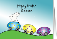 For Godson Happy Easter Greeting Card-Bunny Rabbit in Egg Train card