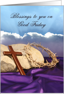 Good Friday Card-Blessings to You-Cross-Sky-Crown of Thorns card