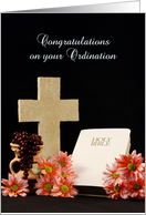 Congratulations on your Ordination Greeting Card-Cross-Bible card
