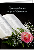 General Ordination Greeting Card with Bible and Pink Rose card