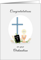 Congratulations on your Ordination Greeting Card-Cross-Chalice-Wafer card