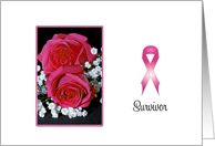 Breast Cancer Survivor Greeting Card-Pink Rose-Breast Cancer Ribbon card