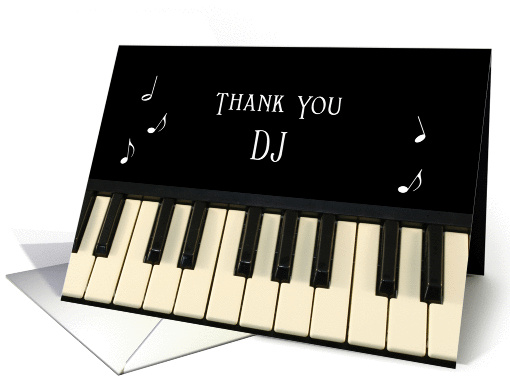 For DJ Thank You Card With Musical Notes and Keyboard card (394361)