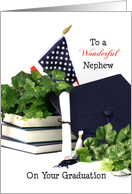 For Nephew Graduation Greeting Card Books Flag Cap Ivy Scroll card