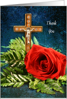 Thank You, Religious Themed Greeting Card with Red Rose and Cross card