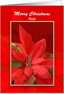 Mother Christmas Greeting Card with Poinsettia-Merry Christmas Mom card