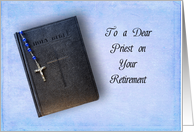 Priest Retirement Greeting Card-Blue Rosary Laying on a Black Bible card