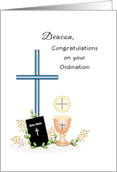 Deacon Ordination Greeting Card-Cross-Chalice-Bible-Book-Wafer card
