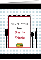 Family Picnic Invitation Card-Ants, Hamburger, Fork, Knife & Spoon card