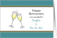 For Daughter and Son in Law Anniversary Greeting Card-Champagne Glass card