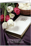 Congratulations on your Ordination Bible Communion Wafers and Tulips card