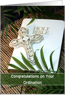 Congratulations on your Ordination Greeting Card-Bible-Cross and Palms card