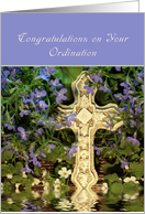 Congratulations on Your Ordination Greeting Card-Cross Reflection card