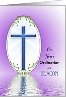 For Deacon Ordination Greeting Card-Blue Cross and Reflection card