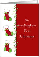For Granddaughter's First Christmas Greeting Card-Christmas Stockings card