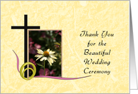 Thank You for the Wedding Ceremony Greeting Card-Cross and Flower card