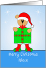 Niece Christmas Card with Bear, Santa Hat, Present, Stockings card