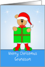 Grandson Christmas Card with Bear, Santa Hat, Present, Stockings card