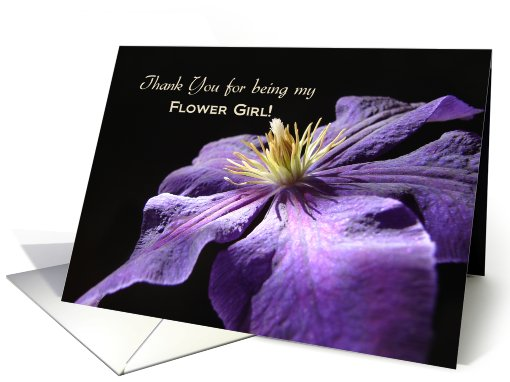Flower Girl Thank You, Purple Clematis card (649334)