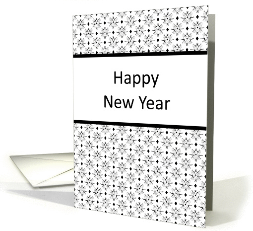 New Year Greeting Card with Black and White Design card (651756)