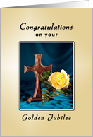 Golden Jubilee Greeting Card-50th Anniversary, Cross, Rose card