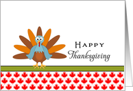 Canada Thanksgiving Greeting Card with Turkey and Maple Leaf Design card