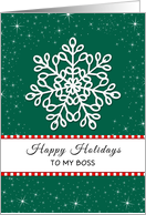 For Boss Christmas Greeting Card-Happy Holidays-Snowflakes card