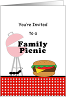 Family Picnic Barbeque Grilling Invitation with Hamburger, Ant and Grill card