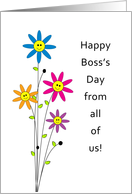 From All Of Us Boss's Day Greeting Card with Smiley Face Flowers card