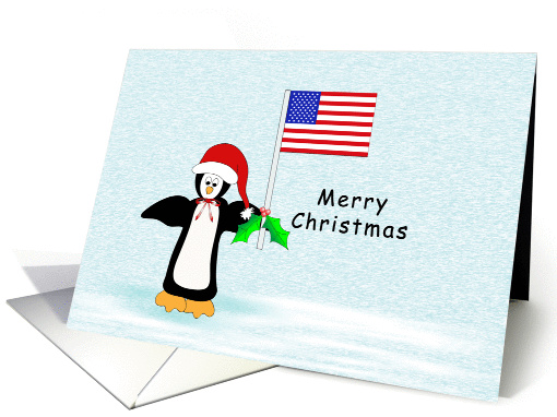Patriotic Christmas Card with Penguin Holding an American Flag card