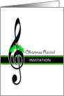 Christmas Recital Invitation, Upper Clef and Holly card