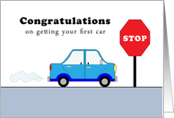 New Car Congratulations Greeting Card-Blue Car-Red Stop Sign card