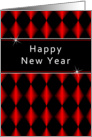 Happy New Year Greeting Card with Red, Black Diamonds card