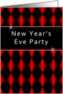 New Year's Eve Party Invitation, Red, Black Diamonds card