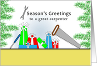 For Carpenter Christmas Card-Season's Greetings-Retro Presents-Tools card