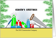 Business Christmas Card From Construction Company-Customizable Text card