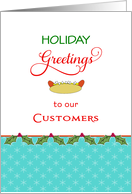 Hot Dog Meat Casing Christmas Card-Onions, Bun, Holiday Greetings card